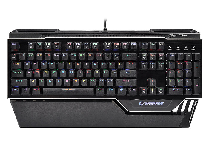 Everest Rampage KB-RX92 COMMANDER Full RGB Ledli USB 2*Usb Hub Gaming US Layout Multimedia Aluminyum Mekanik Klavye