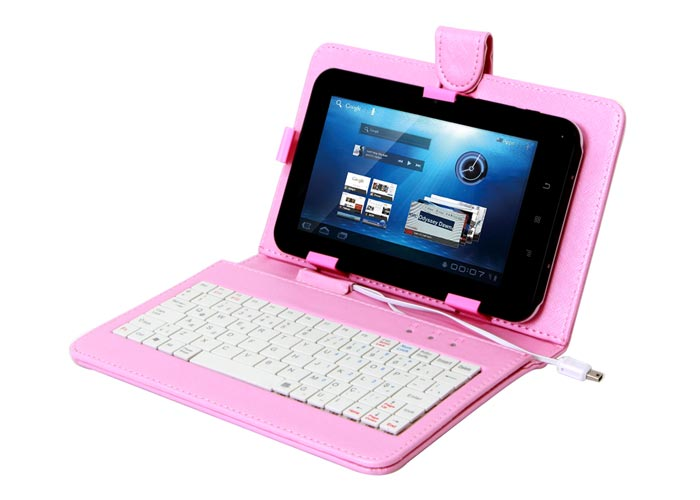 Everest KB-TAB07 7 Pembe Micro+Mini Usb Türkçe Q Klavye Tablet Pc Kılıfı