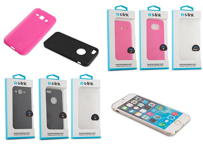 S-link KLF-110S Siyah Şeffaf iPhone 6S Plus Silikon Koruma Kılıfı