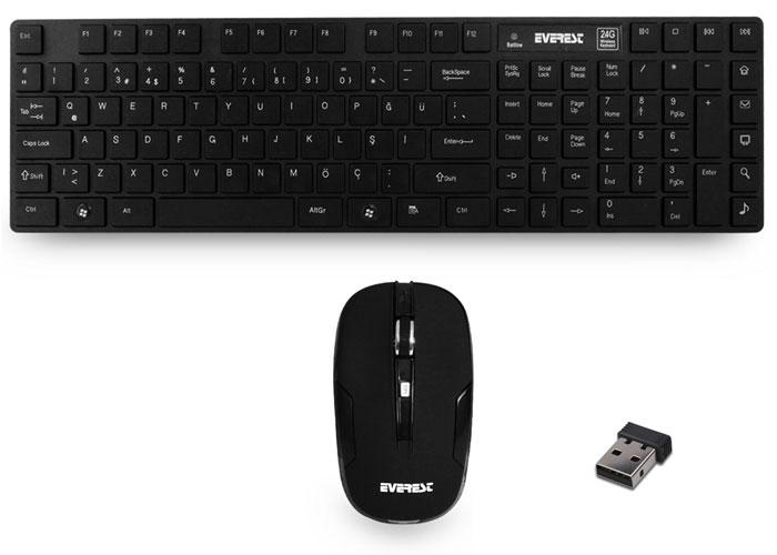 Everest KM-9530 Siyah Kablosuz Q Standart Klavye + Mouse Set