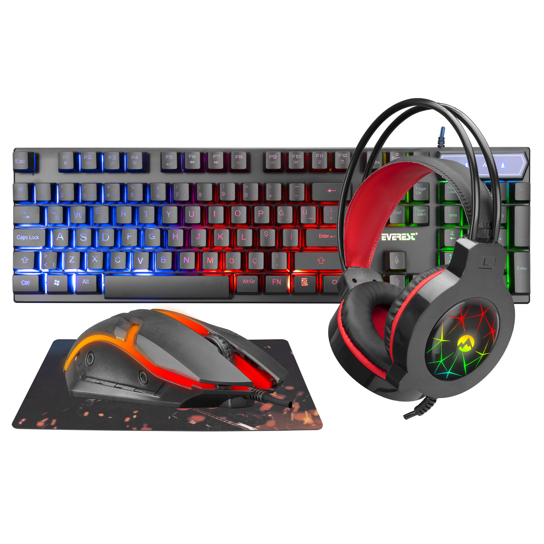 Everest KMK-91 ECO Gökkuşağı Aydınlatmalı USB Gaming Combo 4 in 1 Set Oyun Klavye+Mouse+Pad+Kulaklık