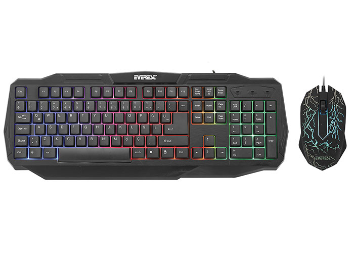 Everest KMX-86 Olivine Siyah Usb Gökkuşağı Zemin Aydınlatmalı Q Standart Klavye + Mouse Set