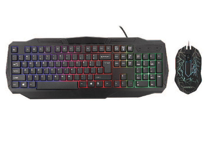 Everest KMX-86 Olivine Siyah Usb Gökkuşağı Zemin Aydınlatmalı US Layout Standart Klavye + Mouse Set