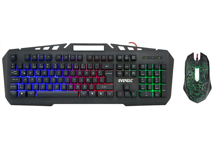 Everest KMX-99 Siyah Usb Gökkuşağı Zemin Aydınlatmalı Q Oyuncu Klavye + Mouse Set