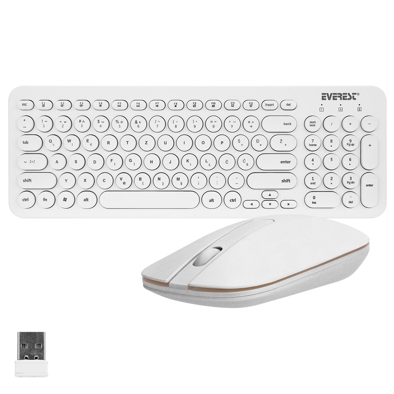 Everest KM-01W Beyaz Yuvarlak Tuşlu 3D Mouse Combo LC Layout Kablosuz Klavye + Mouse
