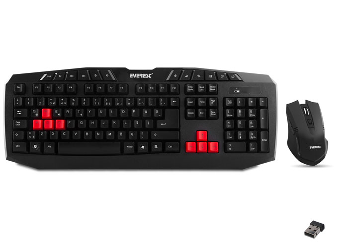 Everest KM-1255 Black Wireless Q Multimedia Keyboard + Mouse Set