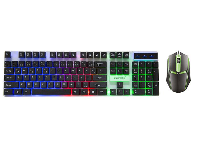 Everest KM-191 ENTRY Siyah USB Gökkuşağı Aydınlatmalı Q Gaming Oyuncu Klavye + Mouse Set