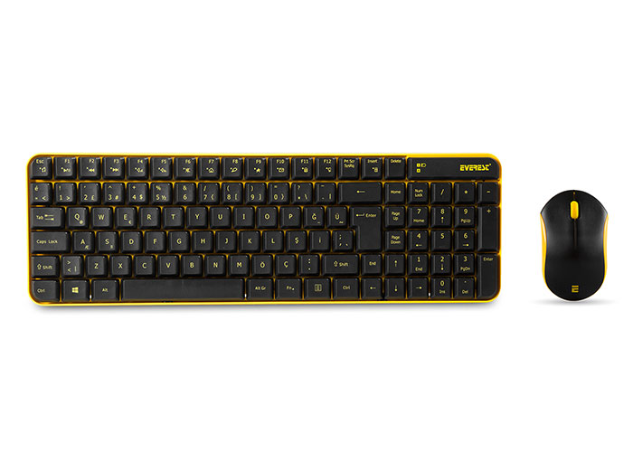 Everest KM-4835 Siyah/Turuncu Kablosuz Q Multimedia Klavye + Mouse Set