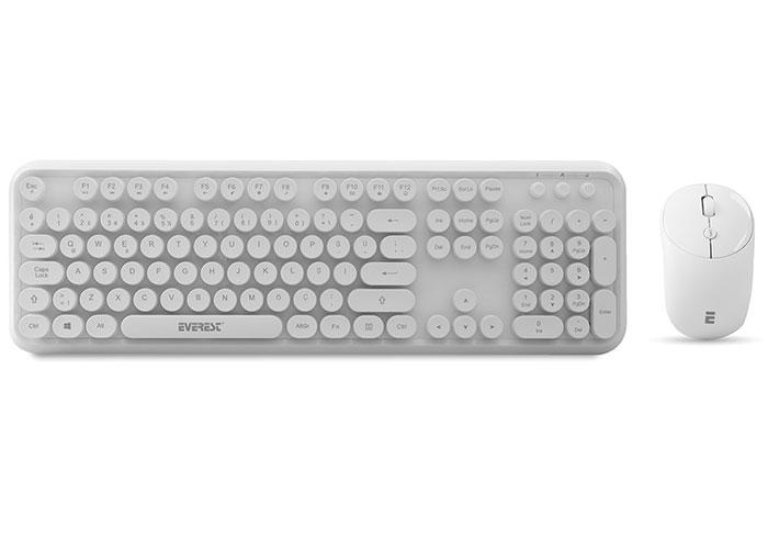 Everest ROUND KM-6282 White Wireless Q Multimedia Keyboard + Mouse Set