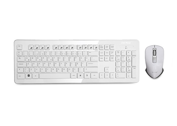 Everest KM-66 White Wireless Q Multimedia Keboard + Mouse Set