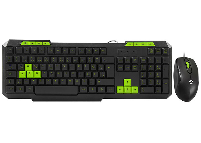 Everest KM-6825 Siyah Usb Yeşil Tuşlu Türkçe Multimedia Klavye + Mouse Set