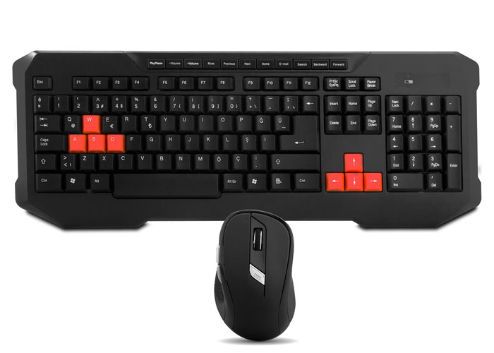 Everest KM-9670 Black Wireless Gaming Q Multimedia Keyboard + Mouse Set