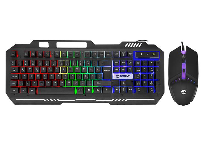 Everest KM-G88 X-DRIFTER Siyah Usb Gökkuşağı Zemin Aydınlatmalı Gaming Oyuncu Klavye + Mouse Set