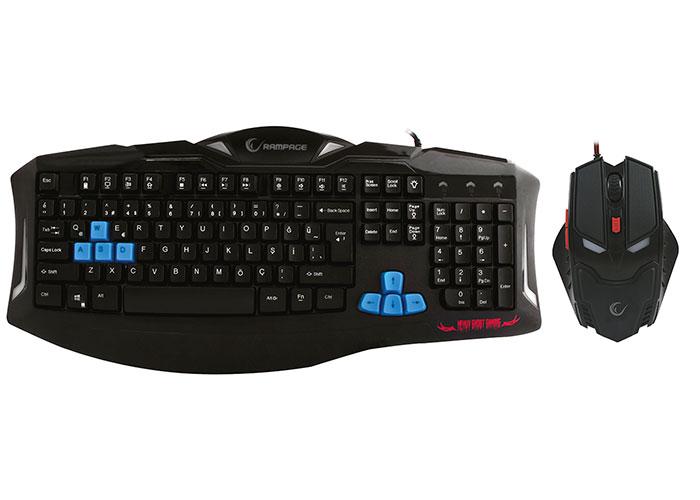 Rampage KM-R5 Siyah Usb 3 Farklı Ledli Gaming Q Multimedia Klavye + Mouse Set
