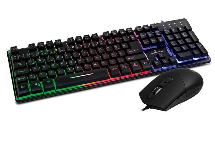 Rampage KM-RX9 Siyah Usb Gökkuşağı Zemin Aydınlatmalı Q Standart Oyuncu Klavye + Mouse Set