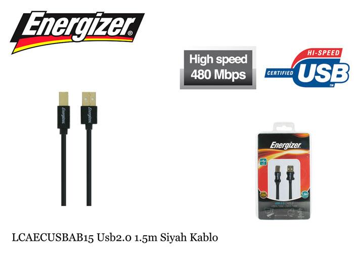 Energizer LCAECUSBAB15 Usb2.0 1.5m Siyah Kablo