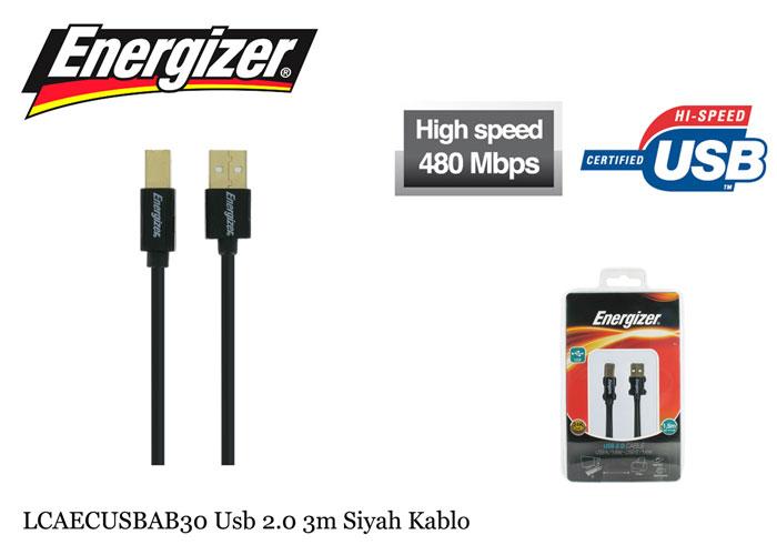 Energizer LCAECUSBAB30 Usb 2.0 3m Siyah Kablo