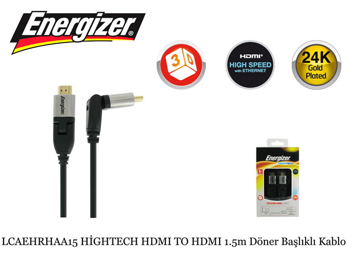 Energizer LCAEHRHAA15 HİGHTECH HDMI TO HDMI 1.5m Döner Başlıklı Kablo