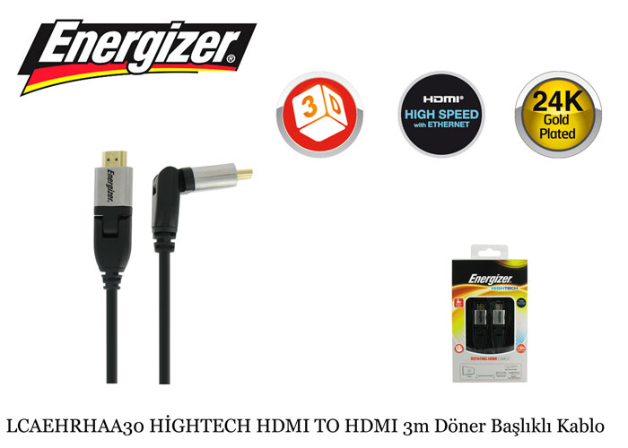Energizer LCAEHRHAA30 HİGHTECH HDMI TO HDMI 3m Rotating Head Cable