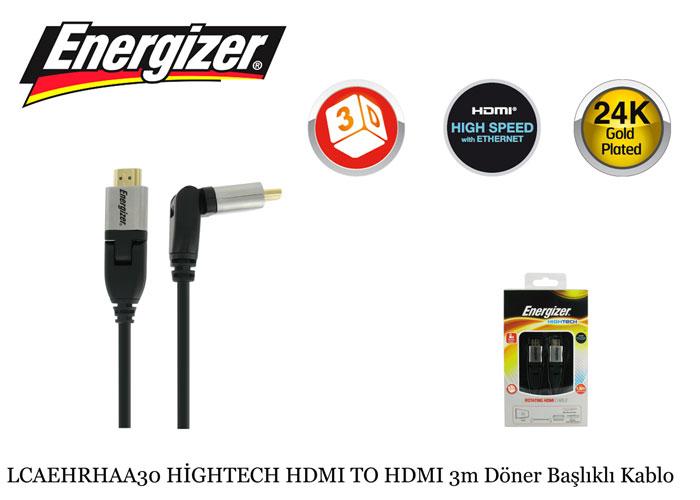 Energizer LCAEHRHAA30 HİGHTECH HDMI TO HDMI 3m Döner Başlıklı Kablo