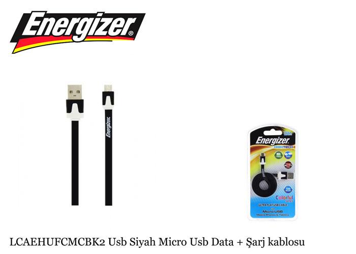 Energizer LCAEHUFCMCBK2 Usb Siyah Micro Usb Data + Şarj kablosu