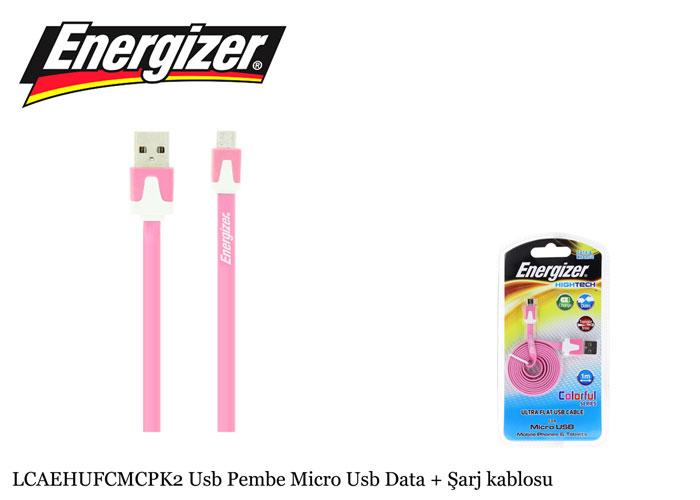 Energizer LCAEHUFCMCPK2 Usb Pembe Micro Usb Data + Şarj kablosu