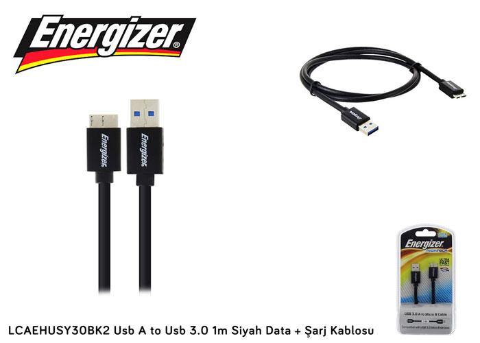 Energizer LCAEHUSY30BK2 Usb A to Usb 3.0 1m Siyah Data + Şarj Kablosu
