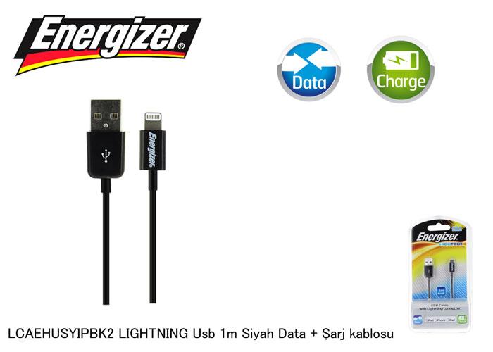 Energizer LCAEHUSYIPBK2 LIGHTNING Usb 1m Siyah Data + Şarj kablosu
