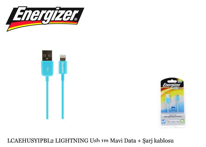 Energizer LCAEHUSYIPBL2 LIGHTNING Usb 1m Mavi Data + Şarj kablosu
