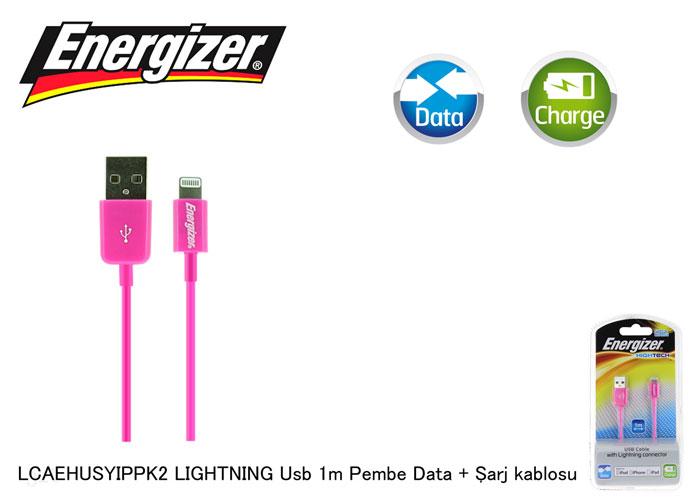 Energizer LCAEHUSYIPPK2 LIGHTNING Usb 1m Pembe Data + Şarj kablosu
