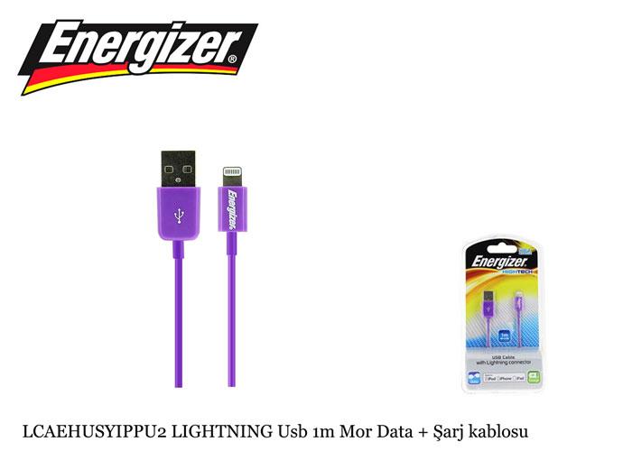 Energizer LCAEHUSYIPPU2 LIGHTNING Usb 1m Mor Data + Şarj kablosu