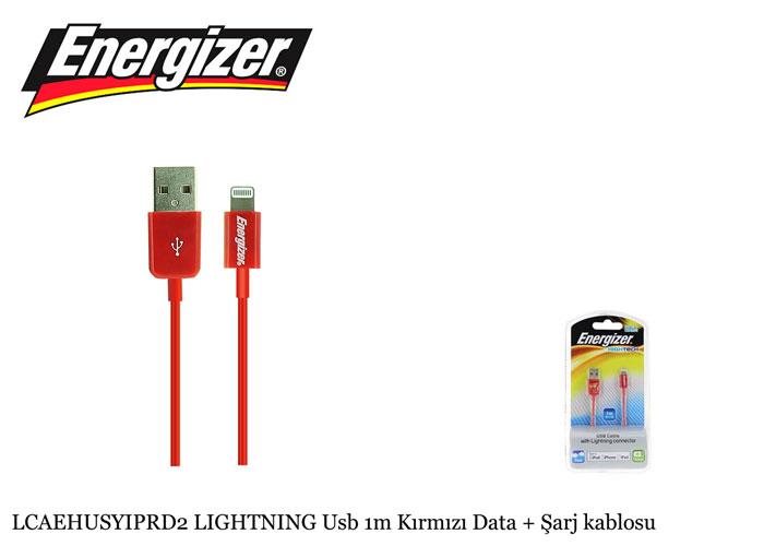 Energizer LCAEHUSYIPRD2 LIGHTNING Usb 1m Kırmızı Data + Şarj kablosu