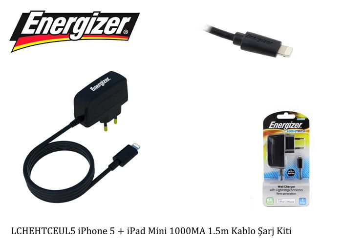 Energizer LCHEHTCEUL5 iPhone 5 + iPad Mini 1000MA 1.5m Kablo Şarj Kiti