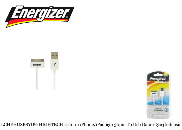 Energizer LCHEHUSBSYIP2 HIGHTECH Usb 1m iPhone/iPad için 30pin To Usb Data + Şarj kablosu