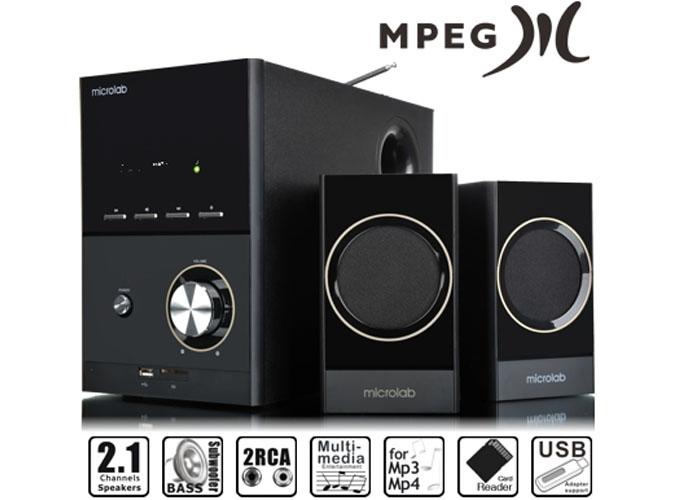 Microlab M223U 2+1 17W RMS Siyah Usb+SD+Fm Destekli Multimedia Speaker