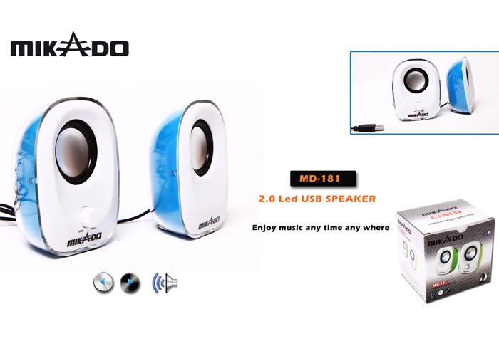 Mikado MD-181 2.0 Mavi Ledli USB Speaker