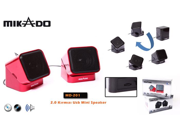 Mikado MD-201 2.0 Kırmızı Mini USB Speaker
