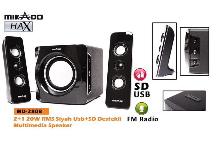 Mikado MD-2808 2+1 20W RMS Siyah Usb+SD+Fm Destekli Multimedia Speaker