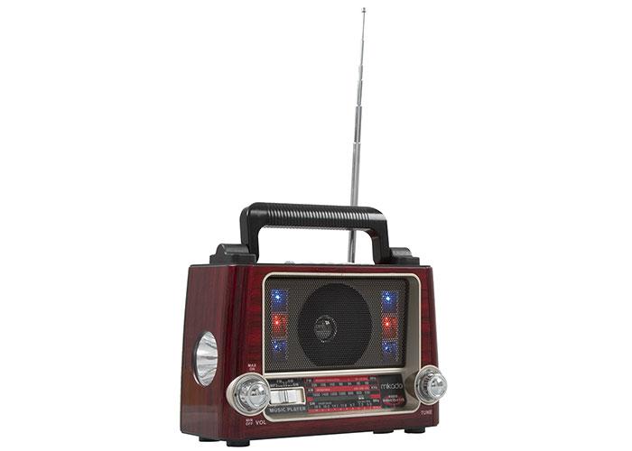 Mikado MDR-7BT Serenad-K Ahşap/Kırmızı Usb-TF Destekli Bluetooth FM-AM*SW 3 BAND Klasik Radyo