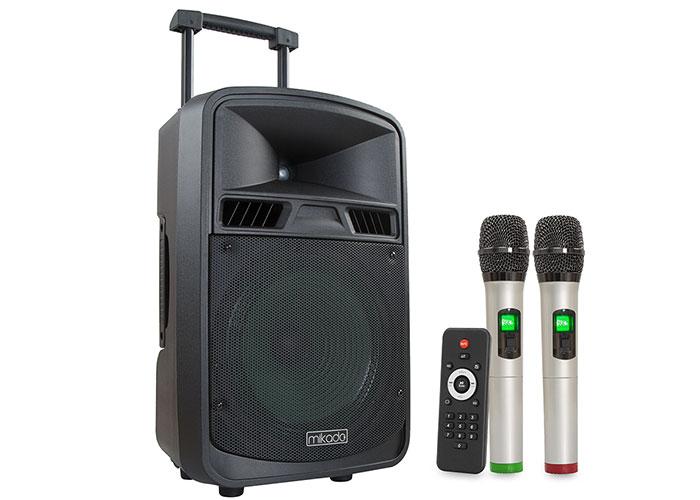 Mikado MD-102KP 12V7.5AH Siyah Usb + FM Destekli Bluetooth 2 UHF Kablosuz Mikrafon Öğretmen/Toplantı Anfisi
