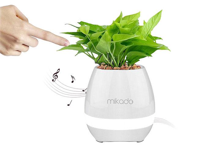Mikado MD-P15BT White TF Card SupportedFlower Flowerpot Smart Touch Bluetooth Speaker