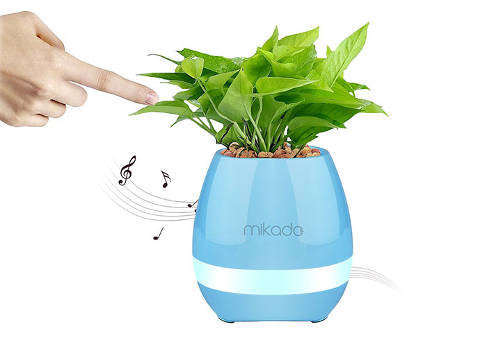 Mikado MD-P15BT Blue TF Card SupportedFlower Flowerpot Smart Touch Bluetooth Speaker