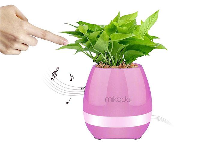 Mikado MD-P15BT Pembe TF Kart Destekli Çiçek Saksı Akıllı Dokun Bluetooth Speaker