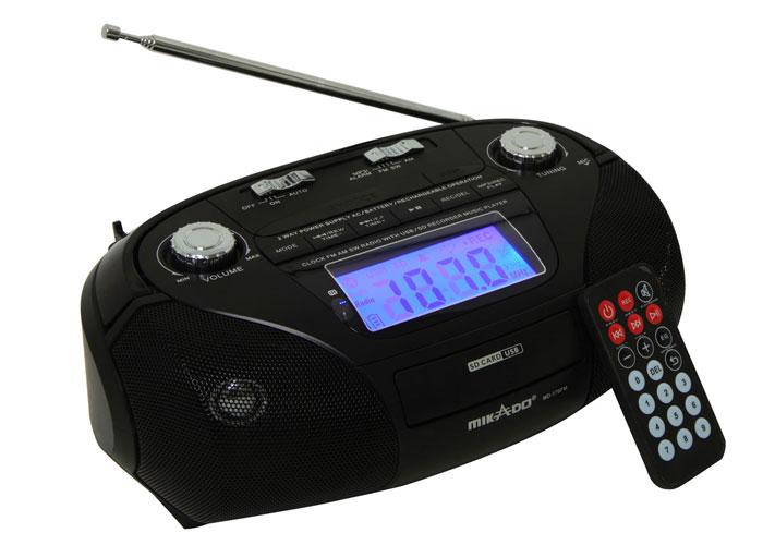 Mikado MD-170FM Siyah Usb+SD+Fm Destekli Alarm ve Saatli Mini Müzik Seti