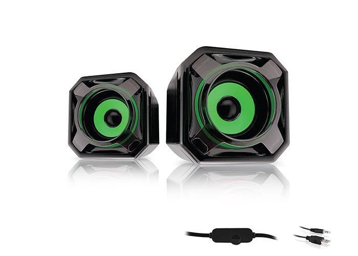 Mikado MD-177 2.0 5W * 2 Green Black Super Bass USB Speaker