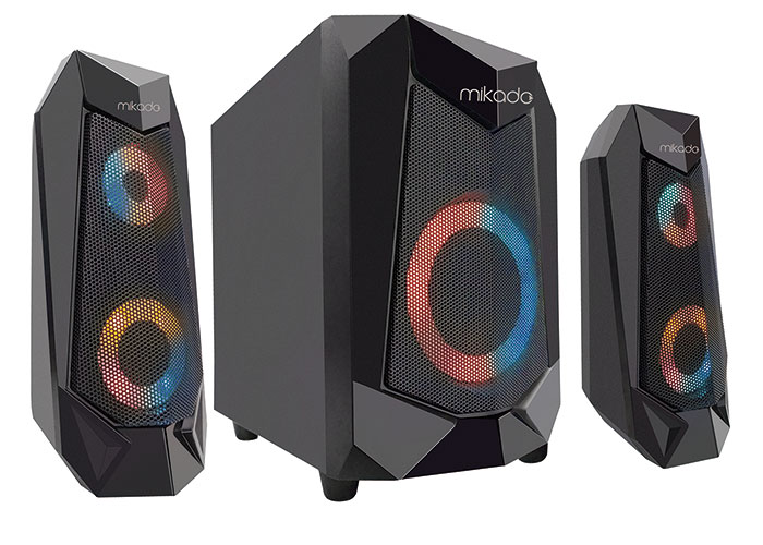 Mikado MD-2021 MOKAN 2+1 6W+3W*2 60dB Siyah Aux-InBluetooth RGB Işıklı Oyuncu Speaker