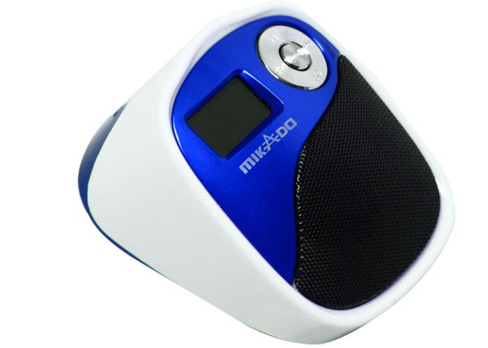Mikado MD-207 Beyaz/Mavi Mikro SD+Fm destekli Mini Speaker