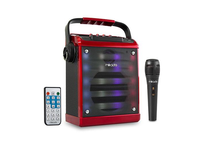 Mikado MD-71KP Red / Black Fm Supported Bluetooth Teacher / Bluetooth Karaoke Speaker System