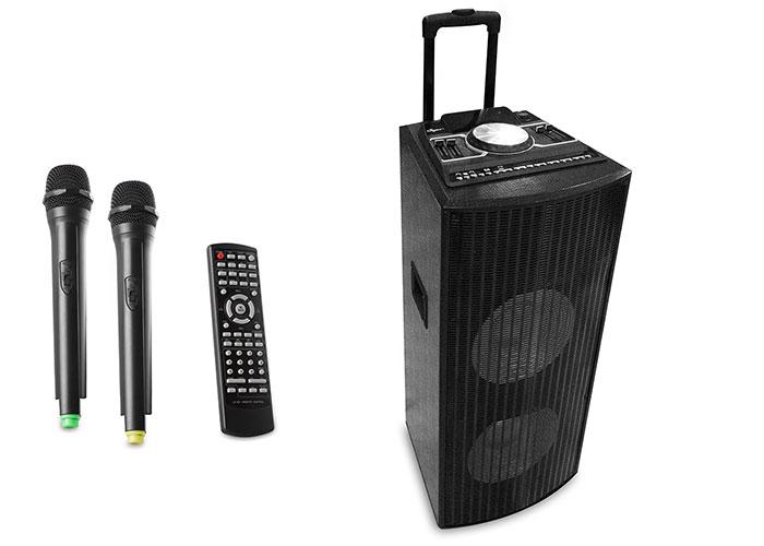 Mikado MD-741BT 250W 2 Ad. Kablosuz Mikrofonlu Siyah Usb+SD+Fm LCD Ekran Toplantı Konser Anfisi Çok Amaçlı