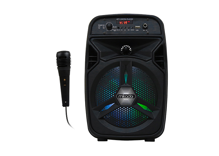 Mikado MD-814KP 15W, 3.7V1200mAh Siyah Kablolu Mikrofon AUX /USB/TF/Bluetooth LED Işıklı Speaker